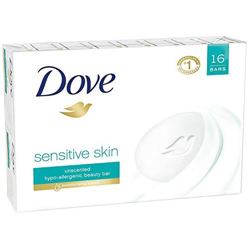 PACK OF 16 BARS Dove Unscented Beauty Soap Bar: SENSITIVE SKIN