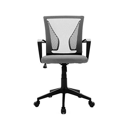 Silla de oficina con respaldo curvo de malla ajustable giratoria con reposabrazos, silla de ordenador ejecutivo, color gris oscuro