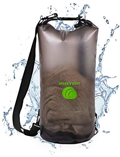 WHEYGHT ●NEU● Drybag 10l absolut wasserfest I Rucksack wasserdicht in transparent - Geräumiger und wetterfester Trockensack - Seesack für Schwimmen, Bootfahren & Angeln I Dry Bag