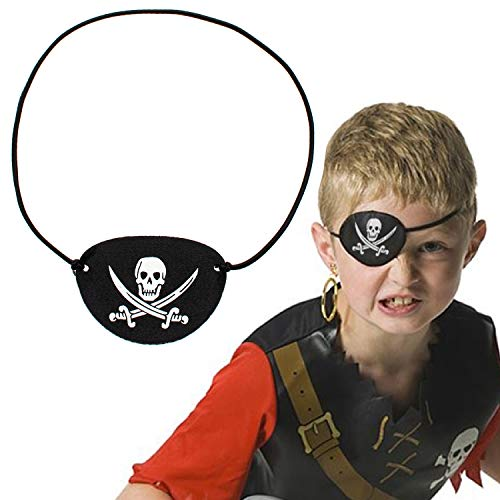 One-eyed Pirate Captain Skull Eye Patch Costume for Halloween,Christmas,Birthday Pirate Theme Party