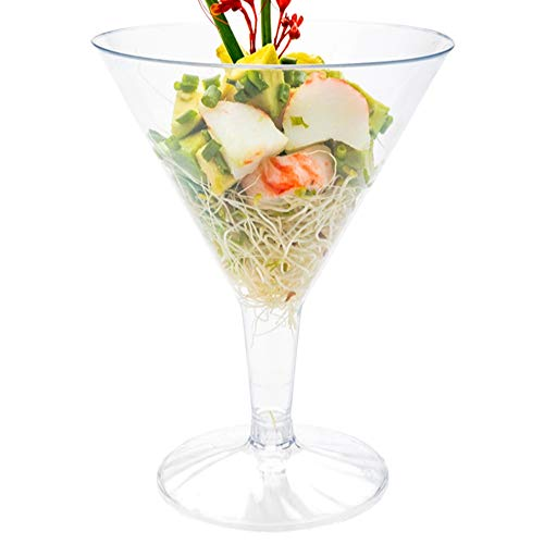 8 Ounce Plastic Martini Glasses, 100 Round Disposable Martini Glasses - Recyclable, Shatter Resistant, Clear Plastic Plastic Cocktail Glasses, For Weddings Or Events - Restaurantware