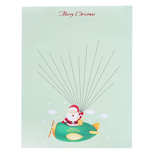 Shipenophy Fibre Chimique Toile Peinture d'empreintes digitales Bricolage Arbre d'empreintes digitales résistant à l'usure Signature d'empreintes digitales Durable pour la(Cartoon Santa)