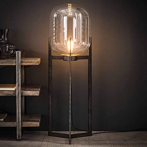 famlights Stehleuchte Stella aus Stahl und Glas, Transparent, Silber, E27, 110cm, Industrial Design   Stehlampe für...