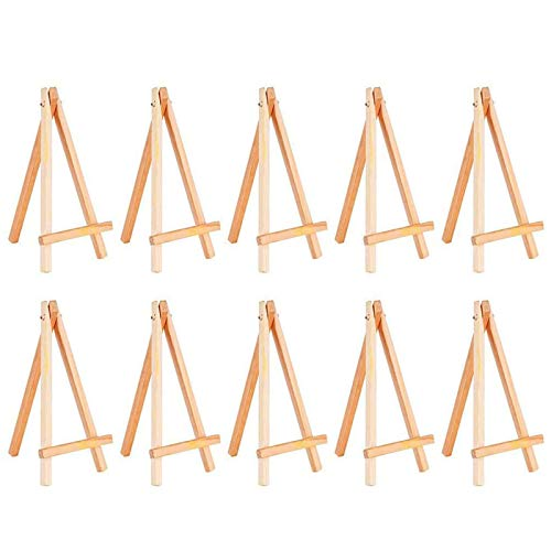 Vpang 10 Pcs Wooden Easel Mini Natural Wood Display Stand Craft Business Card Photo Display Easel (6 inch)