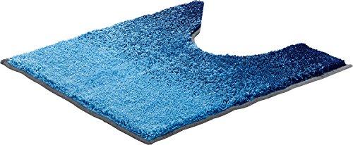 Erwin Müller WC-Umrandung, WC-Matte mit Ausschnitt Uni blau Größe 50x50 cm - herrlich weich und flauschig, rutschhemmend, für Fußbodenheizung geeignet