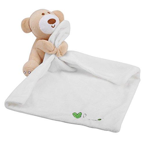 Lovely Bear Baby Infant Komfort Plüsch Sicherheitsdecke niedlich weich Kinder Tier Spielzeug Neugeborene Geschenk Geburtstag Geschenk (weiß)