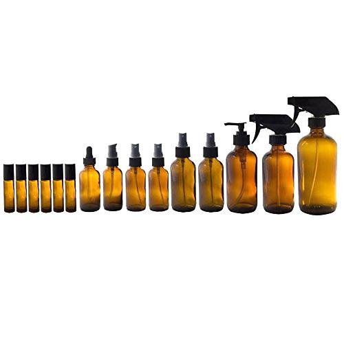 Amber Glass Bottles 15 Piece Starter Set Kit