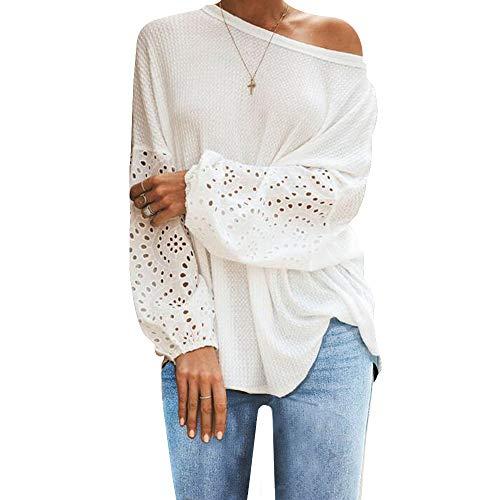 iMixCity Blusa suelta para mujer con hombros descubiertos, camiseta de manga larga, estilo túnica, informal, con empalmes A# blanco. S