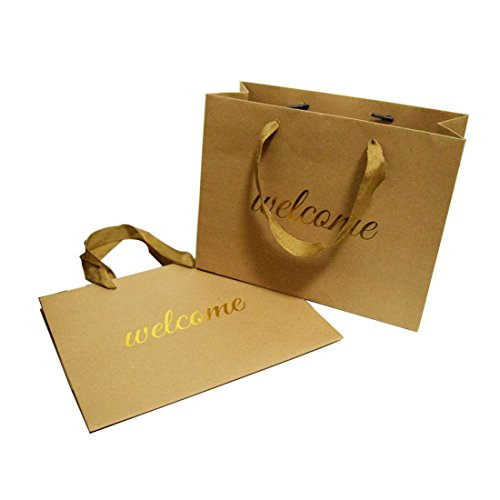 FOONEA Welcome Bags Kraft Paper Bag with Handles for Hotel Guests Wedding Favors Graduation Gift Bags Birthday Party Set of 10, Horizontal Design
