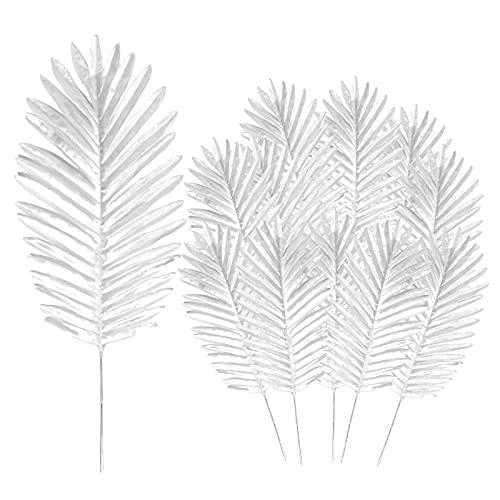 12 plantas artificiales de hojas de palma, hojas de palma tropicales de imitación grandes, plantas...