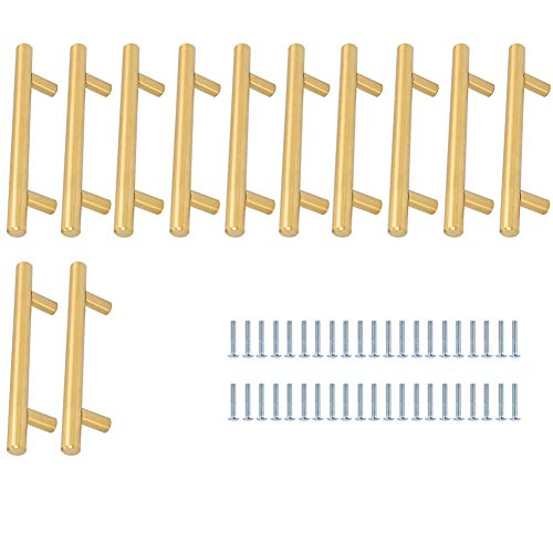 Quyi 12 Stück Türgriff Möbelgriffe Edelstahl 160mm Schrank Schublade Stangengriff Edelstahl Küchenschrank Möbelgriffe Kleiderschrank Zieht Griffe,Golden