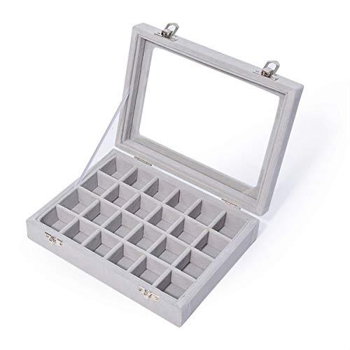 JZK 24 Compartimentos Organizador Caja Terciopelo Bandeja Gris con Tapa de Cristal para joyero Anillos Pulsera Collar Pendientes