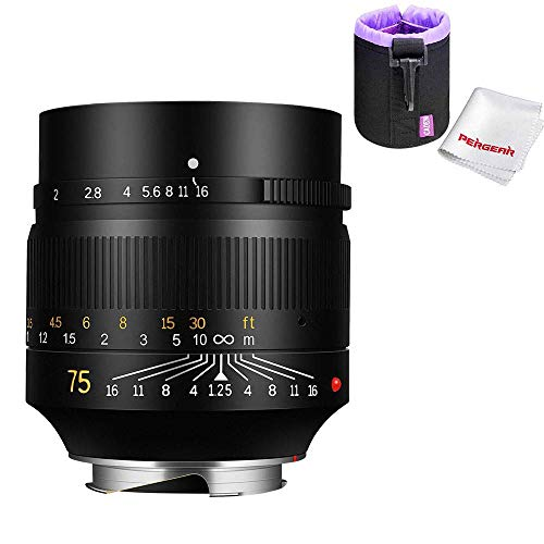 7artisans 75mm F1.25 カメラ交換レンズ ソナー光学設計 手動式固定レンズ Leica M-マウント Leica M240 M3...