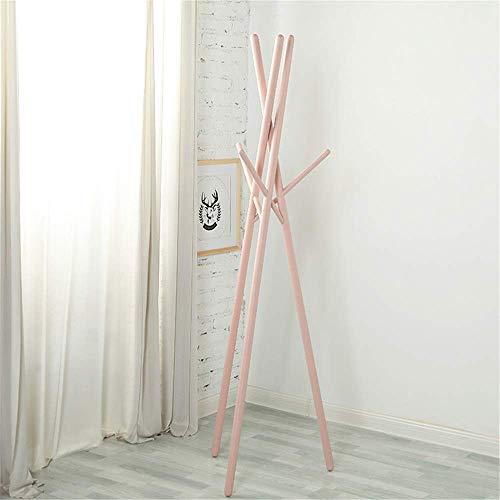 N/Z Home Equipment Freestanding coat rack Floor Coat Rack Solid Wood Hanger Clothes Rack Hanger Bedroom Drying Rack Corridor style coat rack (Color : Pink Size : 174 x 45cm)