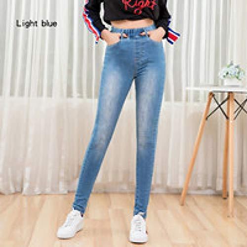 Hoonmis Otoño Cintura elástica Altamente Lavado de Cintura destacada Pierna Ajustada Mujer Jean Ladies 5XL Tallas Grandes Jeans elásticos para Mujer L