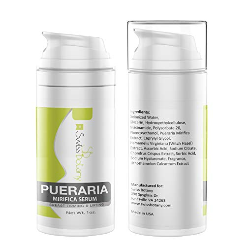 Swiss Botany Pueraria Mirifica Bust Firming & Lifting Serum for Women and Men, Easy to Apply, Use Twice a Day for Best Results, 1 ounce, 2 Bottles