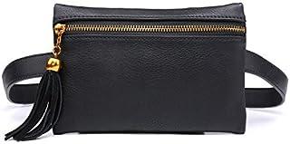 Women Small Leather Handbag Stylish Waist Bag Travel Phone Pouch Security Wallet Black