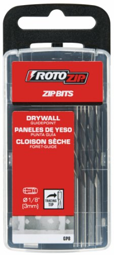 RotoZip GP8 1/8-Inch Guide Point Drywall Cutting  Zip Bit, 8-Pack