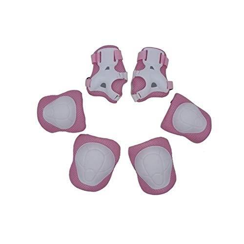 Victor Johnsond Kinder 6 in 1 Kit Knieellenbogenschutz-Schutzausrüstung mit justierbarem Handgelenkschutz-Kleinkind-Kindern Schutz Sicherheit for Rollerblading inliner (Color : A Pink)