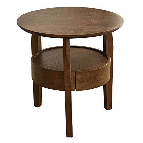 Hermosamente Mesilla Tabla Final Tabla Redonda Vintage lateral, de madera maciza mesa auxiliar con cajones, almacenaje doble de mesa, respetuoso del medio ambiente Haya Woody, sana y sin sabor