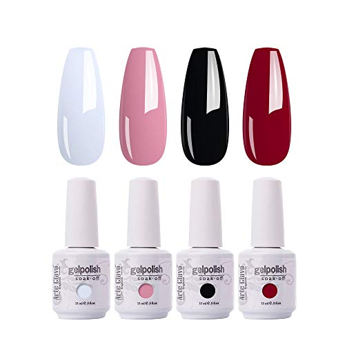 ARTE CLAVO Gel Nail Polish 4 Colours Set UV LED Soak Off Nail Art Manicure Salon Set 15ml Classic Black White Pink Color Gel Polish