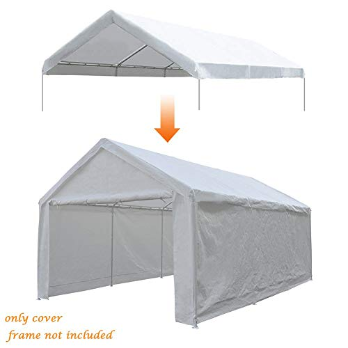 Abba Patio 12 x 20-Feet Carport Replacement Top Canopy Cover for Garage Shelter with Ball Bungees, White (Frame Not Included)