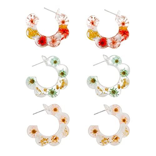 CcHhyyt Pendientes de flores de resina para mujer, pendientes transparentes en forma de C, aretes de círculo, aretes colgantes para niñas, pendientes de gancho de gota para mujeres y niñas MS-17185-