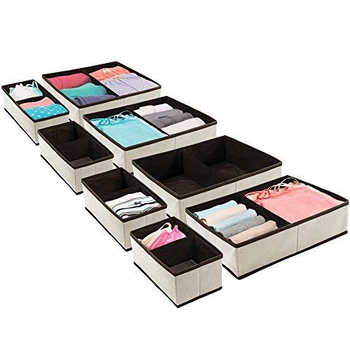 mDesign 4er-Set Aufbewahrungsbox – Schubladen Organizer für Wäsche, Accessoires und Schmuck – faltbare Stoffbox aus atmungsaktiver Kunstfaser in verschiedenen Größen – cremefarben und espressobraun