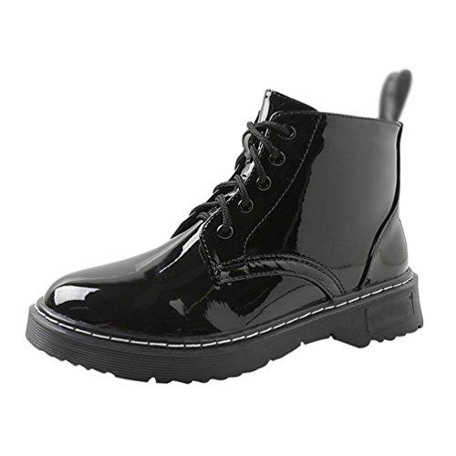 Anguang Damen Stiefeletten Stiefel Winter Warm Gefüttert Schnürstiefel Boots Schuhe Schwarz 2 42