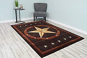 PREMIUM 3D Effect Hand Carved Thick Modern Cowboy Lodge Texas Star Area Rug Design 1806 Brown Chocolate 5 3  x7 6