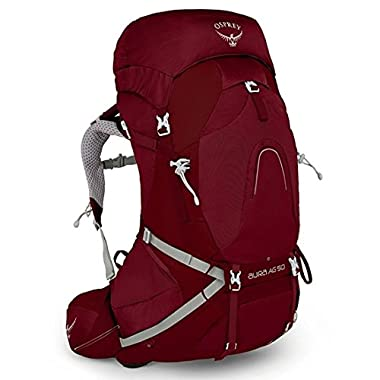 Osprey Aura AG 65 Womens Hiking Backpack Medium Gamma Red