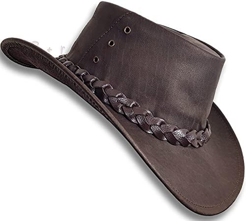 Oztrala Buffalo Leather Hat Australian Outback Breezer Western Cowboy Mesh Mens Womens Kids Jacaru Black Brown Tan HLBS HLBB (Solid Brown, XL, Numeric_7_and_5_eighths)