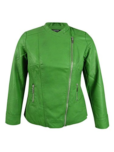 Alfani Womens Petites Pleather Solid Motorcycle Jacket Green PP