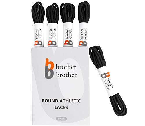 "BB BROTHER BROTHER Round Athletic Shoe Laces Black (5 Pairs) Heavy Duty Replacement Shoelaces, 1/8"" 4mm Shoe Strings for Men's and Women's Running Sneakers, Gym Trainers, Work Boots, Sports Shoes 54''"