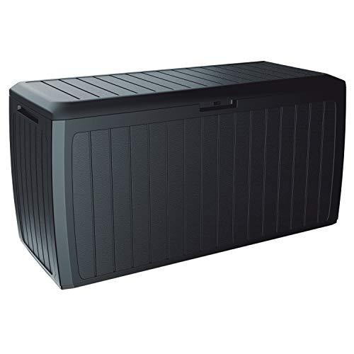 Prosperplast MBBD290 Boxe Board Gartenbox auf Rollen Kissenbox Gartentruhe Verschließbar 290L (Anthrazit)