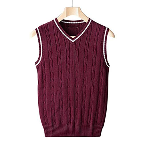 Perfect-display Winter Mens Vests Sleeveless Knitted Warm Waistcoats Casual Men Slim V Neck Pullovers,Wine Red,M
