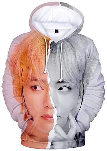 Silver Basic Sudadera con Capucha Estampada 3D KPOP BTS World para Mujer Suga Jimin V Rap-Monster Streetwear PulloverXXS,2085-4