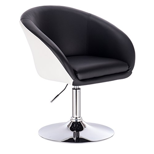 WOLTU® BH10szw Barsessel 1er Set, stufenlose Höhenverstellung, verchromter Stahl, Kunstleder, gut gepolsterte Sitzfläche mit Armlehne und Rücklehne, 2 farbig, Schwarz+Weiß