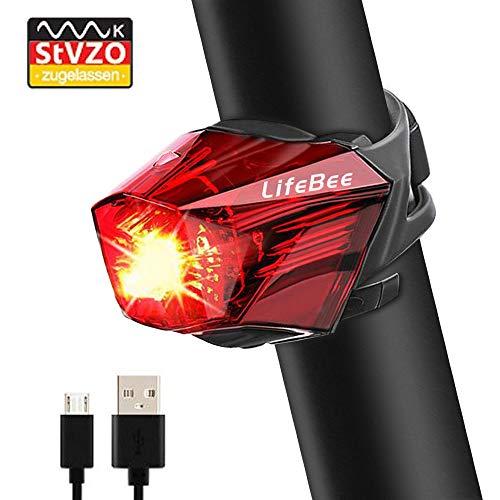 Fahrrad Rücklicht LED fahrradlampe, LIFEBEE StVZO Zugelassen Rücklicht für fahrrad usb Wiederaufladbare Fahrradlicht Super hell StvZO Wasserdicht MTB Rücklichter Set Radlicht für Radfahren