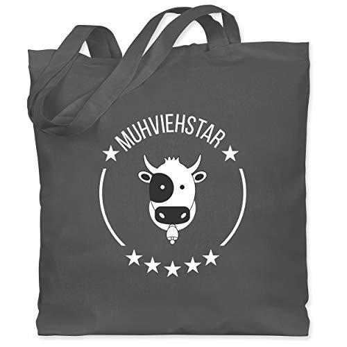 Shirtracer Landwirt - Muhviehstar - Unisize - Dunkelgrau - Kuh - WM101 - Stoffbeutel aus Baumwolle Jutebeutel lange Henkel