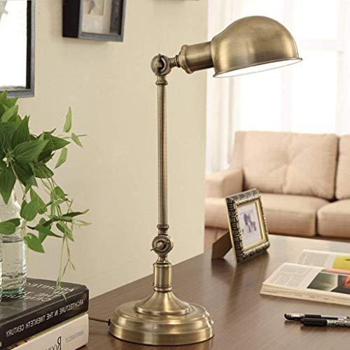 YUXIwang Lámparas de Mesa, Personalidad Simple Estadounidense Creativa lámpara de Escritorio, lámpara de Cobre Retro Todo, S Oficina lámpara de Escritorio, se Puede Ajustar la Lectura luz de la Noche