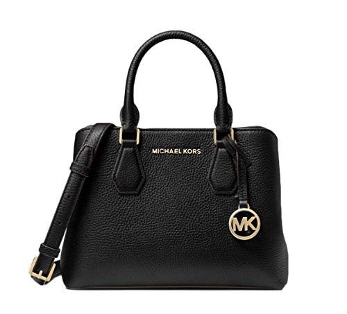 MICHAEL Michael Kors Camille Small Logo and Leather Satchel - Black
