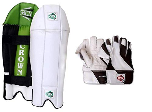 CW Cricket-Kombi – Wicket Keeping Beinschützer Krone mit County-Wicket Keeping Cricket Handschuhe Senior & Erwachsene Größe