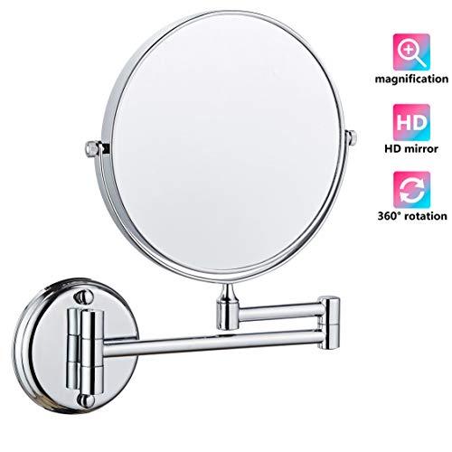 Make-up spiegel muur bevestiging, make-up spiegel verstelbare hoogte dubbelzijdige spiegels voor badkamer wastafel, ronde vorm, chroom afgewerkt 360 ° rotatie stevige basis zilver