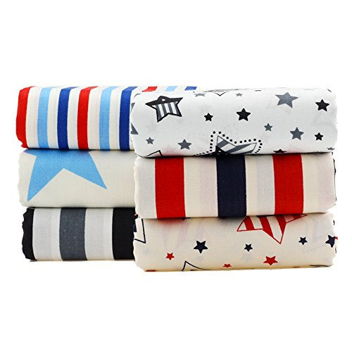 Star Stripes Design Cotton Fabric Patchwork Fabric Fat Quarter Bundles Fabric For DIY Crafts Bedding Handmade Bags Doll Dress 40X50cm 6pcs/lot (As Picture Shown)
