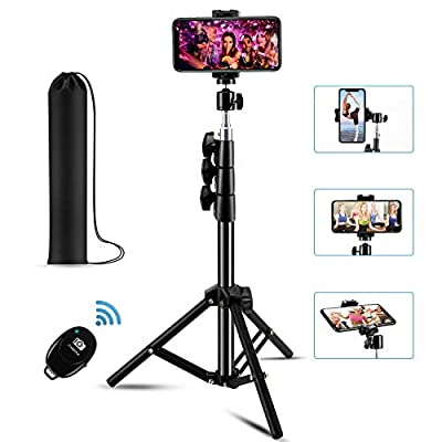"""?New Version? Phone Tripod & Selfie Stick Tripod, Premium Aluminum Alloy 65"""" Extendable Portable Camera Tripod with Phone Holder & Wireless Bluetooth Remote, Compatible with iOS/Android from AMZUSA"""