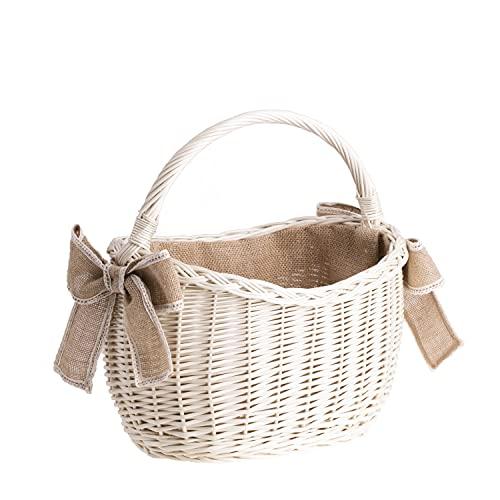 e-wicker24 Einkaufskorb aus Weide, weißer Retro Bügelkorb, Vintage Stil, Weidenkorb, oval