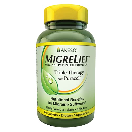 MigreLief Original Triple Therapy with Puracol - Nutritional Support for Migraine Sufferers - 60 Caplets/1 Month Supply