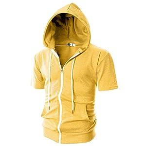 Ohoo Mens Slim Fit Short Sleeve Lightweight Zip-up Hoodie With Kanga Pocket/DCF007-YELLOW-L