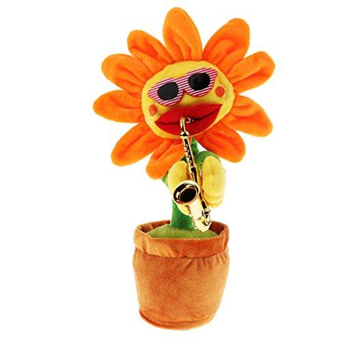 SM SunniMix Singende Und Tanzende Blumen Sonnenblumen Plüsch Blumen Geburtstagsgeschenk - Orangenblätter